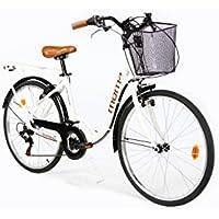 "Moma Bikes City Classic 26""- Bicicleta Paseo, Aluminio , Cambio Shimano TZ-50 18 vel., Blanco"