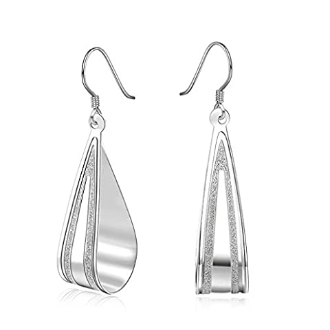 AMDXD Jewelry Gold Plated Women White Gold Earrings Hollow Water Drop Pear Design Pendant