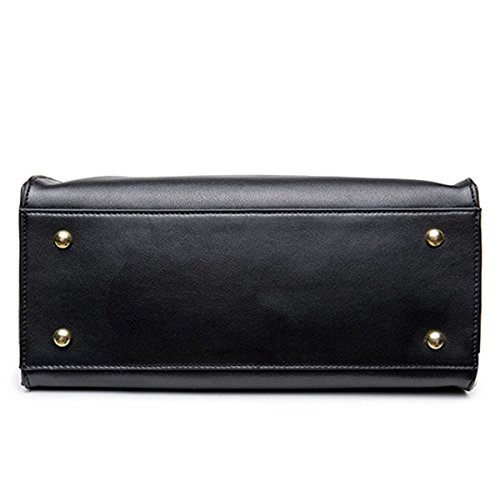 Frauen Faux-Leder-Aktenkoffer Messenger Bag Damen Handtaschen Multicolor Black