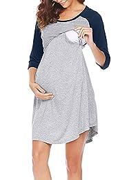 QinMM Vestido Lactancia de Mujer Embarazo Camisón, Premamá Blusa Maternidad 3/4 Manga Verano Invierno Primavera Noche Ropa de…