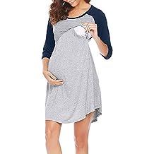 QinMM Vestido Lactancia de Mujer Embarazo Camisón, Premamá Blusa Maternidad 3/4 Manga Verano