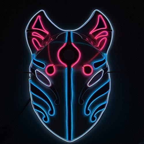 Yamer LED Maske Halloween Scary Maske, Cosplay Led Kostüm Maske EL Draht leuchten für Halloween Festival Party (Alte Kostüm Mit Kunststoff Maske)