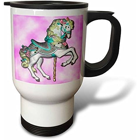 3dRose tm_1185_1 cavallo, colore: rosa, Tazza da viaggio, 14 g, in acciaio INOX