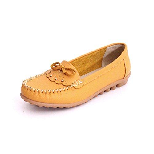 Damen Sommer Kühle Erbsenschuhe Slip On Kurzschaft Oxford Strass Bowknot Günstige Lässige Sandalen Slippers Zehentrenner Gelb