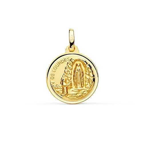 Medalla Oro 18K Virgen De Lourdes 16mm. Redonda Lisa Cerco Bisel - Personalizable - Grabación Incluida En El Precio