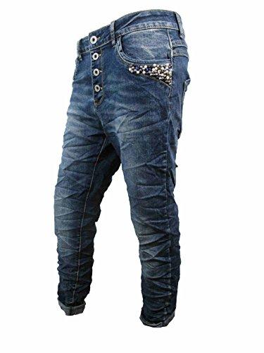 Perlen Strass Boyfriend Damen Stretch Jeans offene Knopfleiste Denim