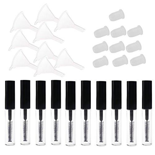 MagiDeal 10pcs 4ml Tubes Vide a Mascara en Plastique Flacon Bouteille a Croissance de Cils Liquides Lip Gloss + 10pcs Entonnoirs + 10pcs Bouchons