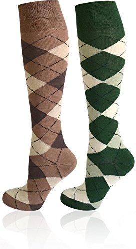 normani 2 Paar Reitsocken mit karo Design - Kniestrümpfe mit dicker Polstersohle Farbe Farbset 4...