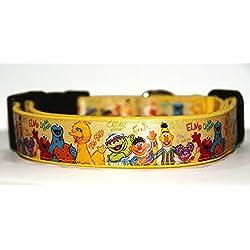 Barrio Sesamo Sesame Street Epi y Blas Bert And Ernie Elmo Collar Perro Hecho a Mano Talla L con Correa a juego de 120 cm Dog Collar HandMade