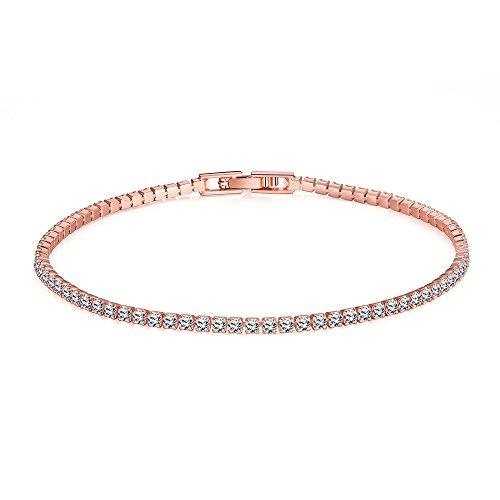 TPHui, bracciale da donna placcato in oro rosa 18 k con zirconia cubica, gioielli da donna