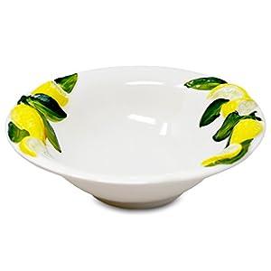 Lashuma Handgemachte Runde Salatschüssel aus Italienischer Keramik im Zitronendesign, Keramikschale 26 cm
