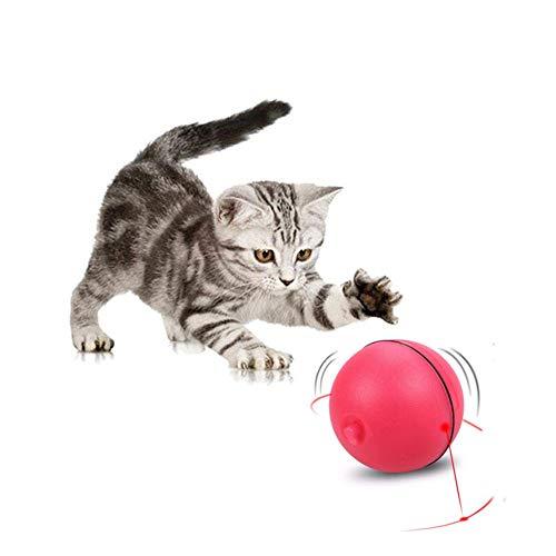 SEALEN Juguetes Interactivos Mejorados para Gatos, Bola Giratoria y Automática de Giro Ligero LED para Gatos, Juguete de Entretenimiento para Gatos Cachorros con 6 Baterías