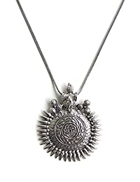 Sansar India Oxidized Silver Ganesha Sundial Pendant Necklace for Women