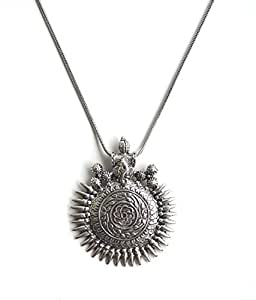 Sansar India Oxidized Silver Ganesha Sundial Pendant Necklace for Women