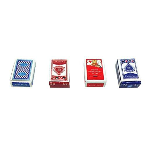 Spielkarten-karton (Baoblaze 1/12 Puppenhaus Puppenstube Zubehör Miniatur 2 Kartendecks in 4 Kartons Papier Poker Spielkarten)