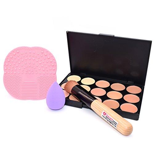 Dolovemk Face Ensemble de maquillage, souligner kit Concealer Palette + Brosse de Maquillage + Beauté blending éponge + Silicone Brosse nettoyante Pad pour les débutants de maquillage
