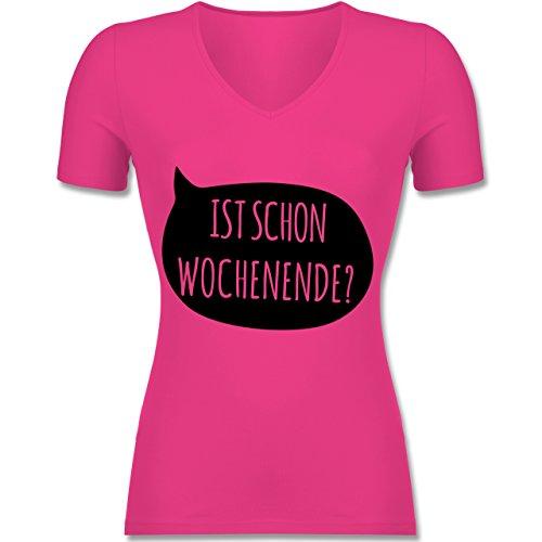 Shirtracer Statement Shirts - ist Schon Wochenende? - Tailliertes T-Shirt mit V-Ausschnitt für Frauen Fuchsia