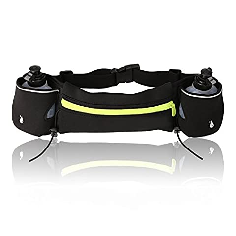 Amzdeal Hydration Running Belt with 2 Water Bottles Adjustable Runner