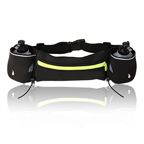 Amzdeal Hydration Running Belt with 2 Water Bottles Adjustable Runner Belt Fit iphone 7 Plus Ideal for Marathon, Fitness Training, Hiking, Other Outdoor Activities