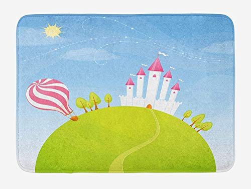 Cartoon Bath Mat, Fantasy Castle on Top of The Hills and Hot Air Balloon in Sunny Sky Day Kids Art, Plush Bathroom Decor Mat with Non Slip Backing, Multicolor,19.6X31.4 inch/50 * 80cm