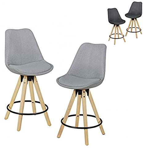 FineBuy Set of 2 Barstools Retro Design fabric with backrest