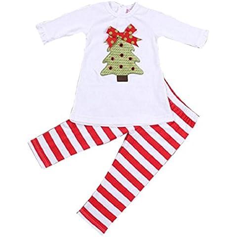 Koly La camiseta de las tapas de los niños 1set niñas pequeñas árboles de navidad + Pantalones Conjuntos de ropa (100cm)