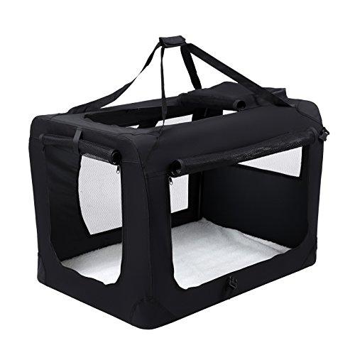 Songmics Caisse De Transport Pliable Pour Chien noir - M 60 x 40 x 40 cm