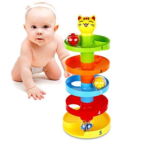 Peradix Rampa di Palla Swirl Giocattoli Educativi per Bambini Sfera Rotolante Swirl Ball Ramp