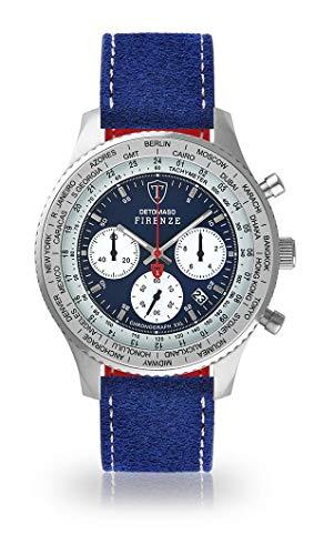 DETOMASO Firenze XXL Herren-Armbanduhr Chronograph Analog Quarz Silbernes Edelstahl-Gehäuse Blaues Zifferblatt (Leder - Blau (Naht: Sand))
