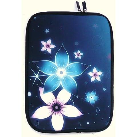 Emartbuy® Blu & Rosa Fiori Impermeabile Morbido Neoprene Custodia Sleeve Case Cover Adatta Per Asus X550 15.6 Pollice Notebook ( 15-16 Pollice Laptop / Notebook )