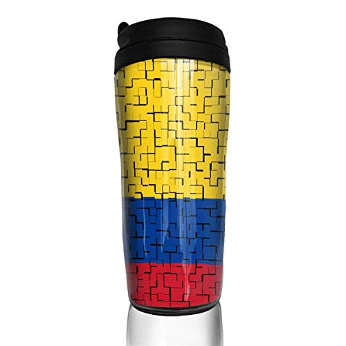 Travel Coffee Mug Colombia Flag Puzzle 12 Oz Spill Proof Flip Lid Water Bottle Environmental Protection Material ABS