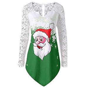 YWLINK Weihnachtsmann Drucken Damen Spitzen Patchwork Bluse T-Shirt Tops Farbverlauf Farbe