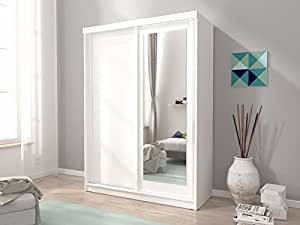MINI 2 SLIDING DOORS BEDROOM SMALL MIRRORED WARDROBE W ...