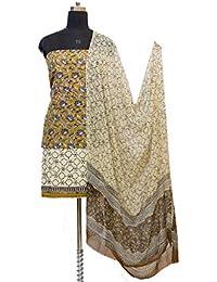 Gleamberry Womens Multicolour (Beige) Block Print Cotton Dress Material Set
