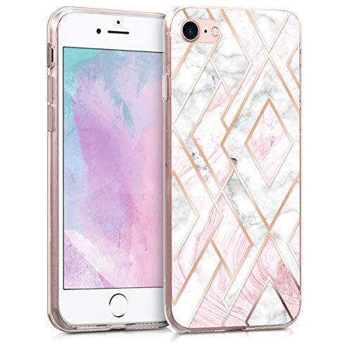 kwmobile Apple iPhone 7/8 Hülle - Handyhülle für Apple iPhone 7/8 - Handy Case in Glory Mix Marmor Design Rosegold Weiß Altrosa