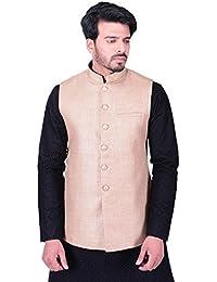 Manyavar Men's Banded Collar Nehru Jacket (JAC110)