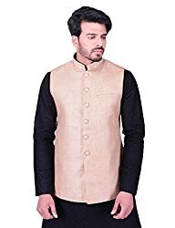 Manyavar Mens Jacket (JAC110-304_Beige_Large)
