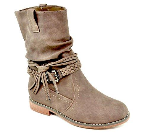 Damen Stiefeletten Stiefel Schnalle Flache Schlupf Biker Boots Blockabsatz BZ28 (37, Khaki)