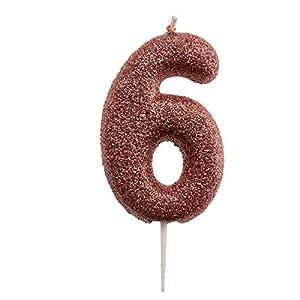 Dekora- Vela de Cumpleaños Numero 6 con Purpurina Rosa (345345)