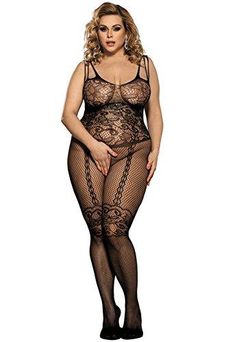 BeautyWill Frauen Bodystocking Fishnet Bodysuit Crotchless Dessous One Size Schwarz Dessous große größen Black