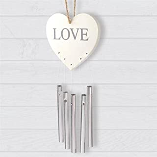 Anker International Plaque Heart with Chimes, Metal, Cream, 20 x 10 x 1 cm