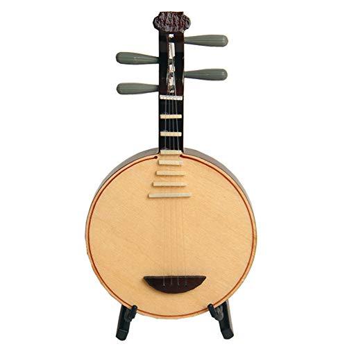 LVSSY-Mini Yueqin Mit Regal Modellsimulation Für Musikinstrumente Geburtstagsgeschenk Dekoration Geschenk Geschenk Kinder Und Erwachsene Sammlerstücke (14CM)