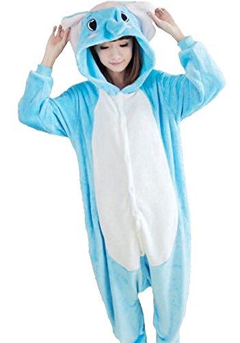 Emmarcon - Disfraz de carnaval halloween pijama cálido de animales kigurumi cosplay zoológico onesies XL/altezza 180-189cm,max 125kg Elefante azzurro