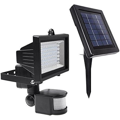 LE Luz solar, foco con sensor de movimiento, resistente al agua, 60 LED de alta potencia, luz de seguridad, luz para paredes, panel