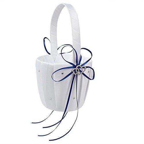 Hochzeit Blume Korb, Schleife Doppel Herz Strass Hochzeit Dekoration Kits, Hochzeit Mädchen Blumenkorb, Flower Girl Körbe für Hochzeit Party Geburtstag Baby Dusche Gastgeschenken blau