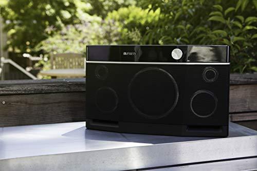 Aiwa Exos-9- Altavoz portátil estéreo con bluetooth. Magnífico aparato amplificador de sonido para interior o exterior, válido para todo tipo de dispositivos (móviles, tablets, etc), de color negro.