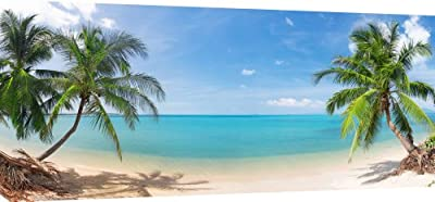 MOOL 42 x 20-inch Tropical Palm Beach Canvas Wall Art Print, Multi-Colour produced by MOOL - quick delivery from UK.