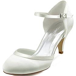 ElegantPark HC1509 Scarpe da sposa con tacco scarpe chiuse donna (Avorio), 39