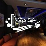 Hwhz 30X58 cm Barber Shop Sticker Name Scissors Hair Salon Decal Neutral Haircut Poster Vinyl Wall Art Decals Decor Decoration A