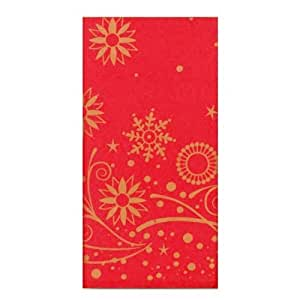 180cm x 120cm nappe en papier – Rouge aux flocons de neige dorés – fête de Noël